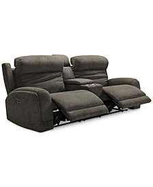 "Winterton 95"" 3-Pc. Fabric Power Reclining Sofa With 2 Power Recliners, Power Headrests, Lumbar, Console And USB Power Outlet"