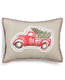 "Martha Stewart Collection Tree Truck 14"" x 20"" Decorative Pillow, Created for Macy's"