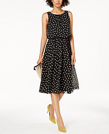 Nine West Polka Dot Blouson Midi Dress