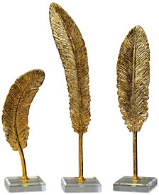 Uttermost Set of 3 Feathers Gold-Tone Sculptures