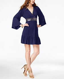 MICHAEL Michael Kors Studded V-Neck Dress, In Regular & Petite Sizes In Regular & Petite Sizes