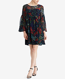 Lauren Ralph Lauren Petite Floral Sheer A-Line Dress