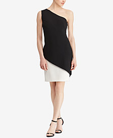Lauren Ralph Lauren Contrast One-Shoulder Dress