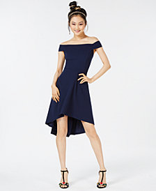 Teeze Me Juniors' Off-The-Shoulder Fit & Flare Dress