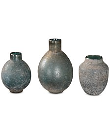 Mercede Weathered Blue-Green Vases, Set of 3