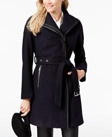 T Tahari Elaine Asymmetrical Belted Coat