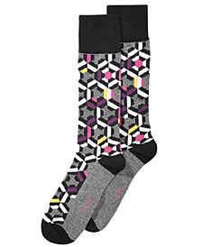AlfaTech by Alfani Men's Patchwork Multi Geo Dress Socks, Created for Macy's