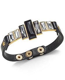 Thalia Sodi Gold-Tone Crystal & Faux Leather Snap Bracelet, Created for Macy's