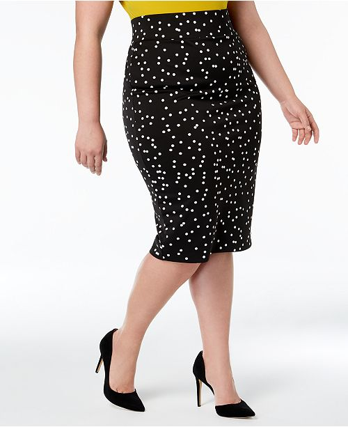 Printed for Size Plus Alfani Pencil Dot Skirt Macy's Vented Created w7EWZAq