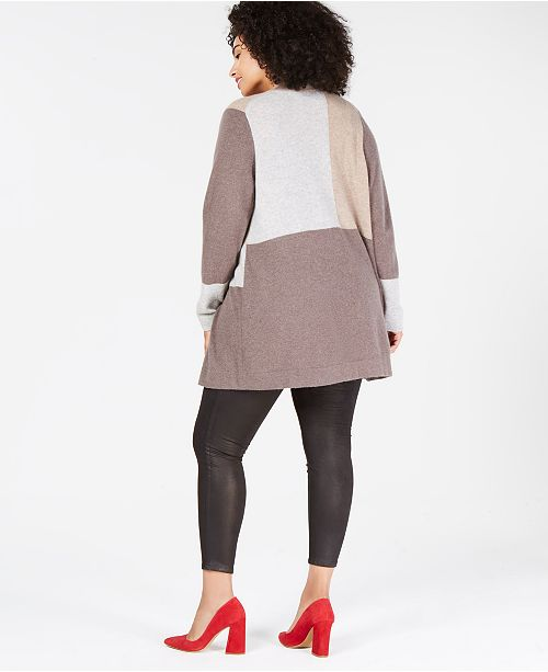80843760fdd1d Charter Club Plus Size Pure Cashmere Colorblock Cardigan Sweater ...