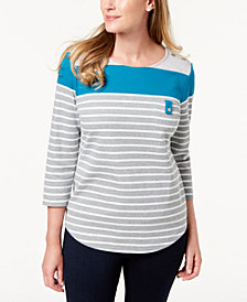 Karen Scott Colorblocked Button-Shoulder Top, Created for Macy's