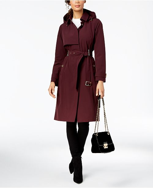 Michael Kors Belted Hooded Trench Coat