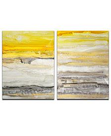 "Ready2HangArt, 'Latest Sunset I/II' 2 Piece Abstract Canvas Wall Art Set,30x20"""