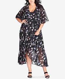 City Chic Trendy Plus Size Floral-Print Wrap Dress