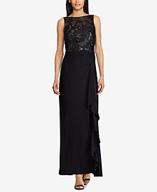 Lauren Ralph Lauren Ruffled Embroidered Gown