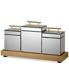 Faustina Set of 3 Mirrored Boxes & Tray