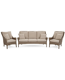 Silver Lake Indoor/Outdoor Flat Rattan 3-Pc. Seating Set (1 Sofa and 2 Club Chairs) with Sunbrella® Cushions, Created for Macy's
