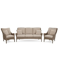 CLOSEOUT! Silver Lake Indoor/Outdoor Flat Rattan 3-Pc. Seating Set (1 Sofa and 2 Club Chairs) with Sunbrella® Cushions, Created for Macy's