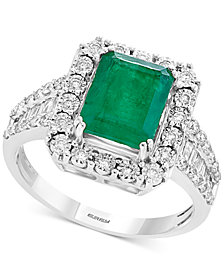 Brasilica by EFFY® Emerald (2-1/5 ct. t.w.) & Diamond (1/2 ct. t.w.) Ring in 14k White Gold