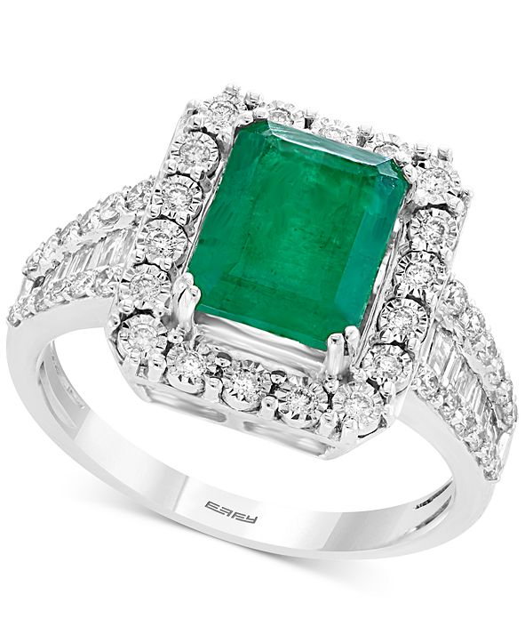 EFFY Collection Brasilica by EFFY® Emerald (2-1/5 ct. t.w.) & Diamond (1/2 ct. t.w.) Ring in 14k White Gold & 14k Yellow Gold