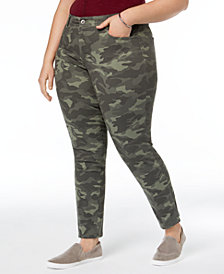 Style & Co Plus Size Camo-Print Skinny-Fit Jeans, Created for Macy's