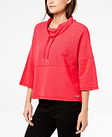 Calvin Klein Performance Cowl-Neck 3/4-Sleeve Cropped Top
