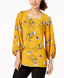 Alfani Printed Blouson-Sleeve Top, Created for Macy's