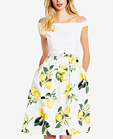 Adrianna Papell Off-The-Shoulder Lemon-Print Dress