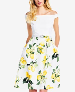 Adrianna Papell Off-The-Shoulder Lemon-Print Dress 6130481