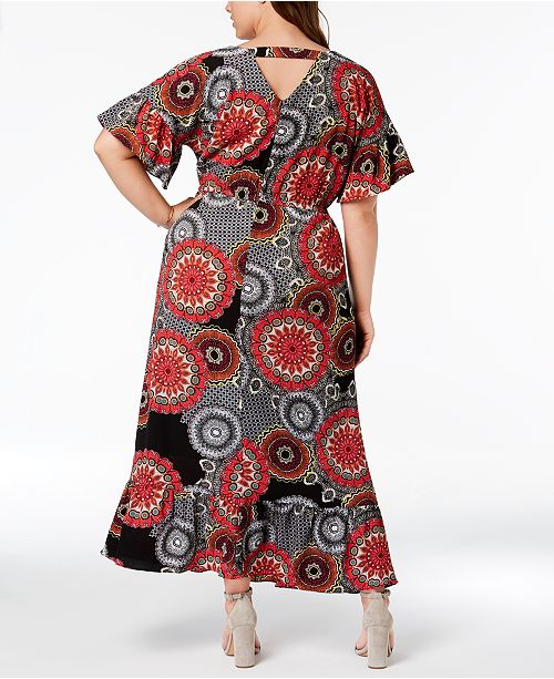 Ny Collection Plus Size Printed Dolman Sleeve Maxi Dress Dresses