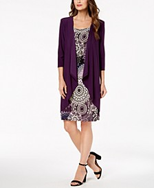 Petite Printed Dress, Necklace & Draped Jacket