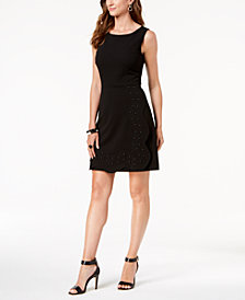 Ivanka Trump Studded Fit & Flare Dress