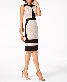 Ivanka Trump Metallic-Lace Contrast Sheath Dress