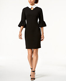 Ivanka Trump Bell-Sleeve Collared Dress