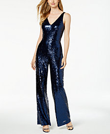 Nightway V-Neck Sequined Jumpsuit