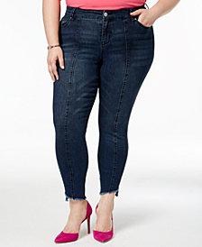 Celebrity Pink Plus Size Frayed-Hem Skinny Jeans