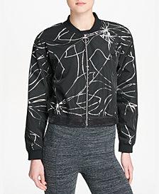 DKNY Sport Metallic-Print Cropped Bomber Jacket