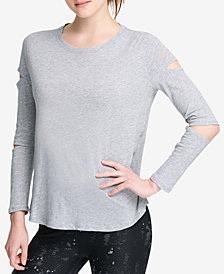 DKNY Sport Cotton Long Cut-Out Sleeve T-Shirt