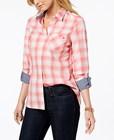 Tommy Hilfiger Cotton Printed Utility Shirt, Created for Macy's