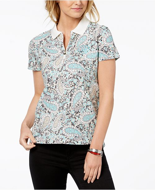 df4e6183 Tommy Hilfiger Paisley-Print Polo Top, Created for Macy's & Reviews ...