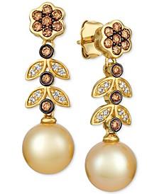 Cultured Golden South Sea Pearl (9mm) & Diamond (1/2 ct. t.w.) Drop Earrings in 14k Gold