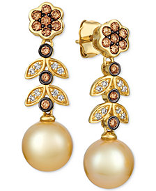 Le Vian® Cultured Golden South Sea Pearl (9mm) & Diamond (1/2 ct. t.w.) Drop Earrings in 14k Gold