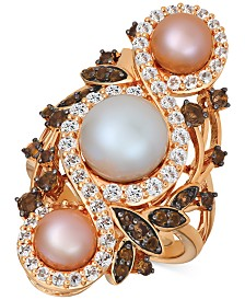 Le Vian® Cultured Freshwater White Pearl (9mm), Pink Pearls (6mm) & Multi-Gemstone (1-3/4 ct. t.w.) Ring 14k Rose Gold