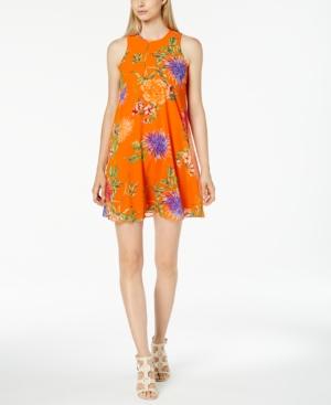 Calvin Klein Trapeze Dress In Orange Floral Multi  8114982cc9