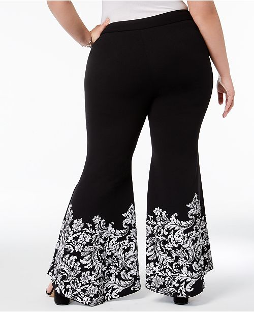 N C Hem Size Pants Plus Black Created I INC Deep Macy's for International Tulip Printed Concepts wqpzTxInYt