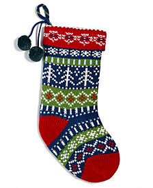 Holiday Lane Multi-Color Knitted Stocking, Created for Macy's