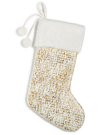 Holiday Lane Gold Foil Stocking, Created for Macy's