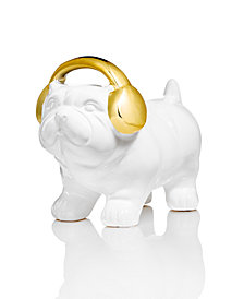 Holiday Lane White Bulldog with Gold Headphones Figurine, Created for Macy's