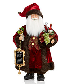 Holiday Lane Standing Santa with Wine Basket & List, Created for Macy's