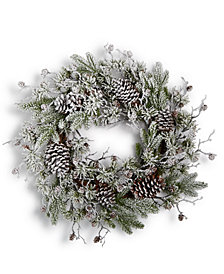Holiday Lane Snowy Wreath with Pine Cones, Created for Macy's